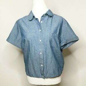 Lucky Brand Chambray top Tie Back Short sleeve